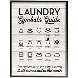 The Stupell Home Decor Collection Laundry Symbols Guide Typography Oversized Framed Giclee Texturized Art