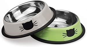 Ureverbasic Cat Bowls Pet Bowl Cat Food Water Bowl with Rubber Base Small Pet Bowl Cat Feeding Bowls Set of 2