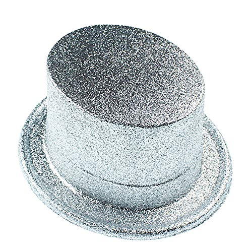 Halloween Jazz hat top hat Magician hat high Round Gold powde,Silver,58-62cm]()
