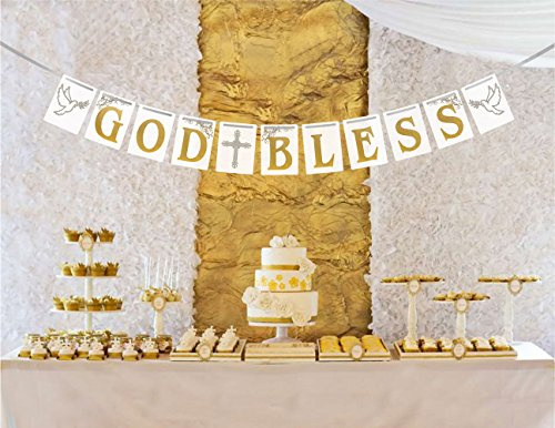 [USA-SALES] Christening, Baptism Banner God Bless, First Communion Party Decorations, by USA-SALES]()