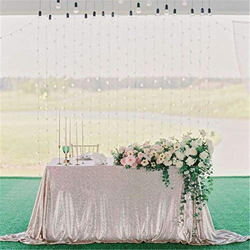 "QueenDream Sequin Tablecloth Square 90""x90"" Sequin Tablecloth Wedding Sequin Table Cloth Square Champagne"