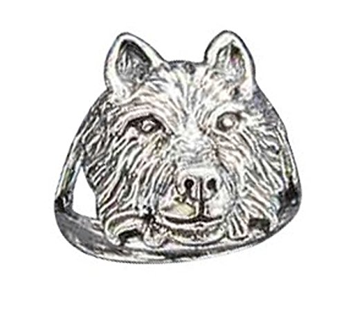 Sterling Silver Wolf Head Ring Size 9 (Head Sterling Wolf Silver)