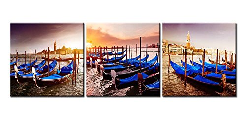 Canvas Print Wall Art Painting For Home Decor Blue Gondolas Moored In Grand Canal On Riva Degli Schiavoni At The Piazza Di San Marco Historical City Venice Italy With Sunrise At San Giorgio Maggiore And Doge'S Palace And Campanile In Background 3 Pieces Panel Paintings Modern Giclee Stretched And Framed Artwork The Picture For Living Room Decoration Landscape Pictures Photo Prints On Canvas