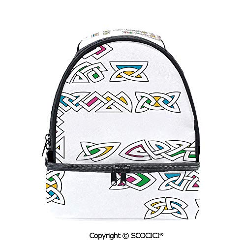 SCOCICI Large Capacity Durable Material Lunch Box Celtic Ornament Patterns Set Colorful Entangled Gaelic Ethnic Ancient Borders Decorative Multipurpose Adjustable Lunch Bag ()