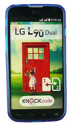 Emartbuy® LG L90 Dual Lunares TPU Gel Funda Carcasa Case Cover Multicolor Azul Ultrafina a Presión TPU Gel