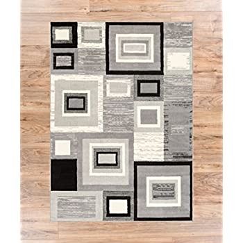 """Well Woven Geometric Squares Grey 82"""" x 910"""" Area Rug Carpet"""