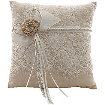 azdress vintage rustic burlap lace wedding ring pillow 8 inch x 8 inch brown - Wedding Ring Pillow