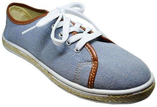Bamboo Lollia-01s Mujeres Lace Up Sneaker Blue Denim Size 10 Light Blue Denim