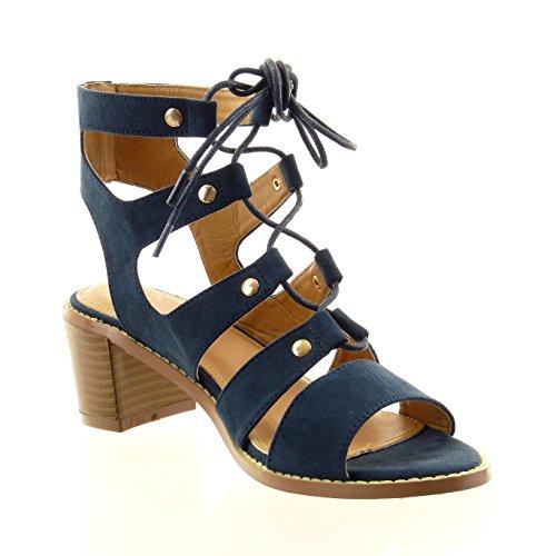 Sopily - Scarpe da Moda sandali gladiatore alla caviglia donna lacci borchiati multi-briglia Tacco a blocco 6 CM - Blu