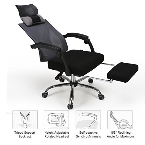 Hbada High Back Ergonomic Recliner Mesh Office Chair with Adjustable Headrest Pullout Footrest, Black