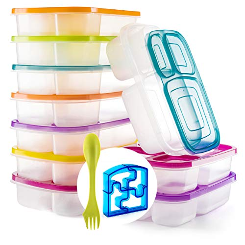 Perfect Fit Bento Lunch 3 Compartment Food Set of 10 Storage Meal prep Container Boxes– Ideal for Adults, Toddler, Kids, Girls, and Boys – Free 2-in-1 Fork/Spoon & Puzzle Sandwich Cutte, Color