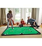 """HearthSong Golf Pool Indoor Family Game Kids Toy Carbon Fiber 78""""Lx57""""W Includes Golf Clubs, 16 Balls, Green Mat, Rails"""