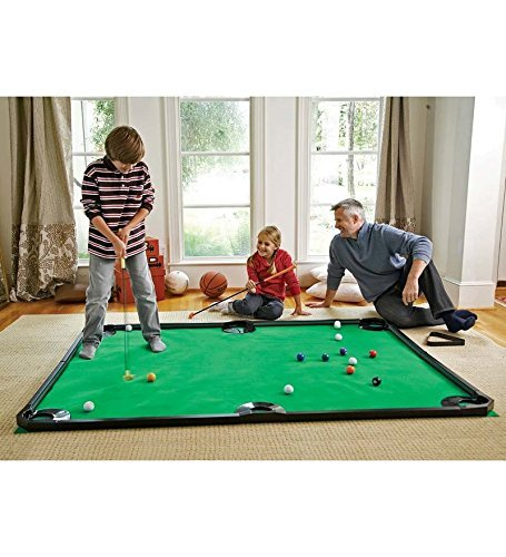 Indoor Golf Pool Putting Game - Mini Golf Set for Kids and Families - Includes 2 Golf Clubs, 16 Balls, Rails - 78 L x 57 W