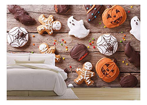 (wall26 - Festive Gingerbread Halloween on The Table. Horizontal View from Above - Removable Wall Mural | Self-Adhesive Large Wallpaper - 100x144)