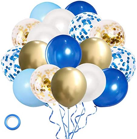 Royal Blue Gold Confetti Balloons, 60 Pack 12 inch White Light Blue and Blue Confetti Latex Party Balloon for Baby Shower Birthday Wedding Party Decoration