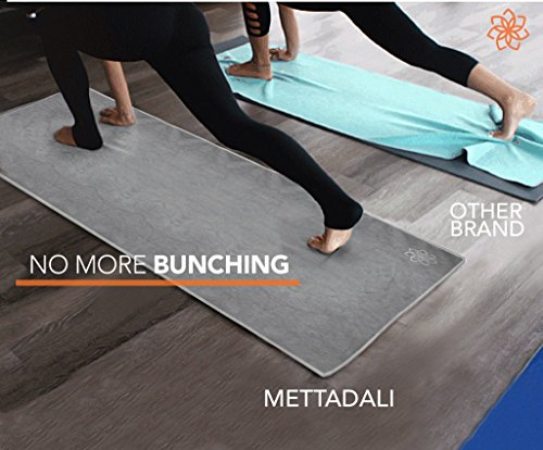 """Mettadali Yoga Hand Towel (15"""" x 24"""") Non Slip Resistant & Sweat Activated Gripping Microfiber Super Soft, Absorbent & Fast Drying Towel"""