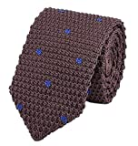 Men Classic Chocolate Silk Ties Coffee Blue Dot Designer Cotton Necktie Neckwear
