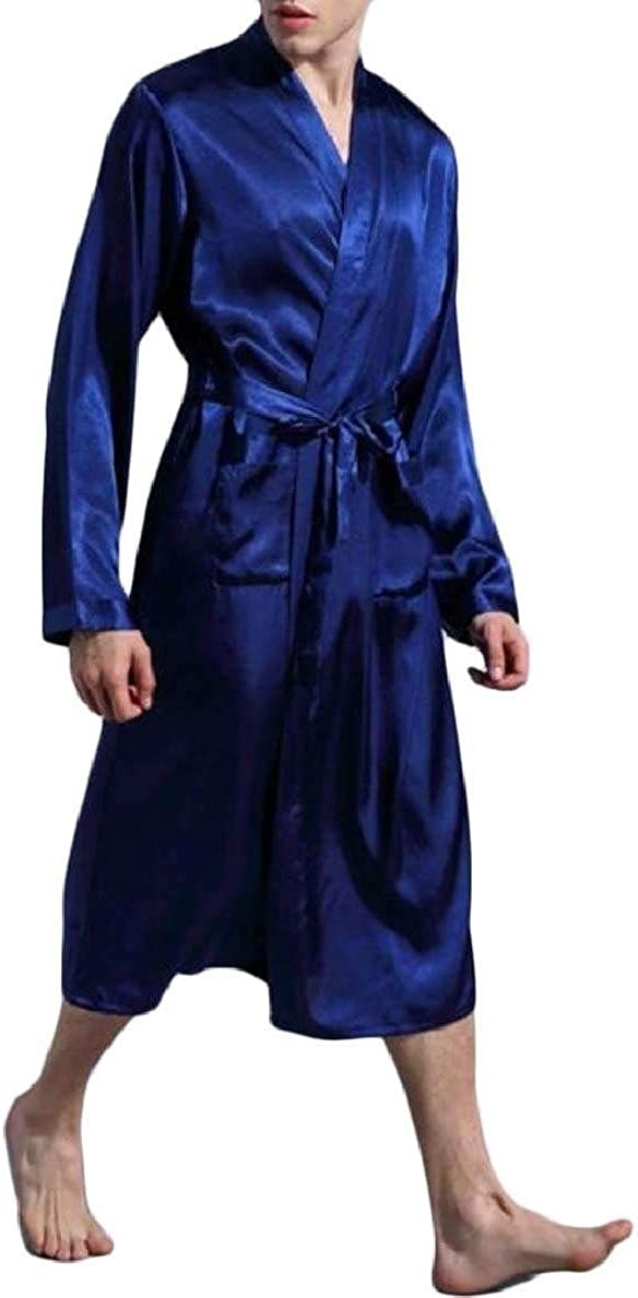 Spirio Men Satin Long Sleeve Comfort Soft Kimono Bathrobe Robe Sleepwear