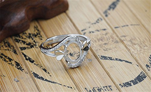 Luoyi Sterling Silver Heart Claw Ring, Platinum Plated Ring Blank (R049B) ()