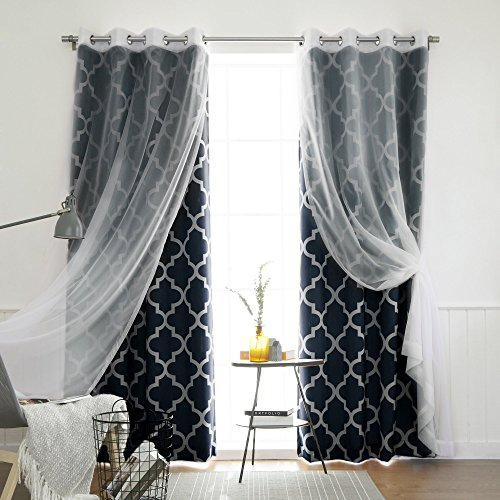 Best Home Fashion Mix and Match Voile Sheer and Room Darkening Moroccan Print 4 Piece Curtain Set - Grommet Top - Navy - 52