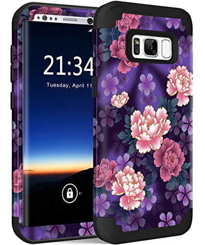 Galaxy S8 Plus Case, Hocase Heavy Duty Shock Absorbing Silicone Rubber Bumper+Hard Plastic Hybrid Dual Layer Protective Phone Case for Samsung Galaxy S8 Plus 2017 - Voilet (Beautiful Black Glass Buttons)