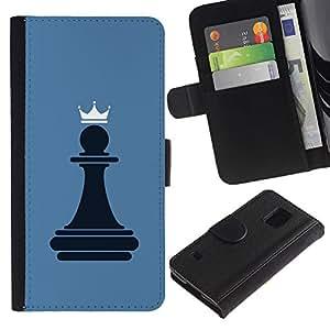 EuroCase - Samsung Galaxy S5 V SM-G900 - Chess Pawn Queen - Cuero PU Delgado caso cubierta Shell Armor Funda Case Cover