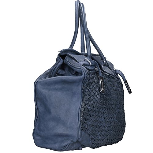 Blue In In Braided Made Leather Vintage Woman Bag Italy Borse Cm Chicca 39x33x15 Genuine xfnBaB