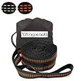 XL Hammock Straps - Adjustable 20 Loops Each , Non-Stretch, Easy Setup, Heavy Duty, Tree Friendly - 100% No Stretch Suspension System Kit- Extra 2 Carabiner Kit for Your Choice (orange)