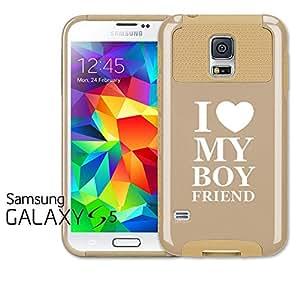 Samsung Galaxy S5 Shockproof Impact Hard Case Cover I Love My Boyfriend (Gold)