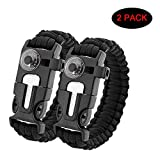 OutLife® 5 in 1 Multifunctional Survival Paracord Bracelet with Scraper Whistle Thermometer Flint Fire Starter For Outdoor Survival (Double Black)- 2 Pack