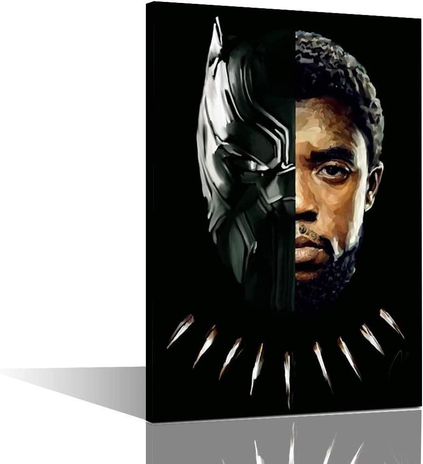 "TUMOVO Chadwick Bosman Portrait Wall Decorations for Living Room,Black Panther Superhero Movie Large Wall Decor Framed Giclee Gallery-Wrapped Posters and Prints Stretched Ready to Hang 24"" X 36"""