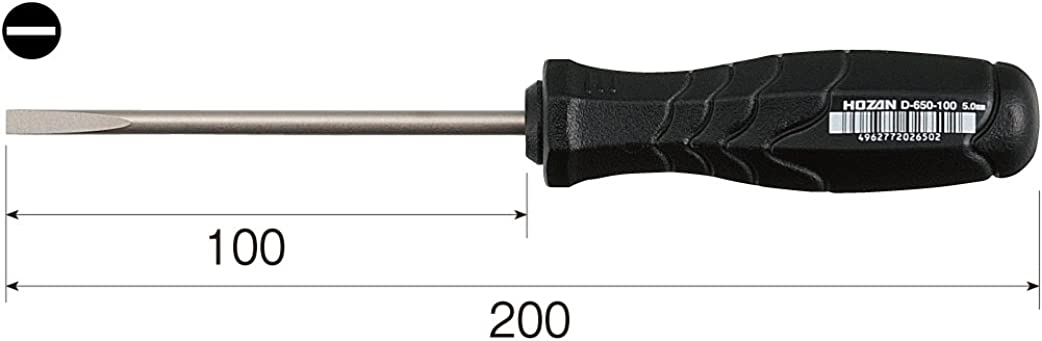 Hozan D-650-100 SLOTTED SCREWDRIVER
