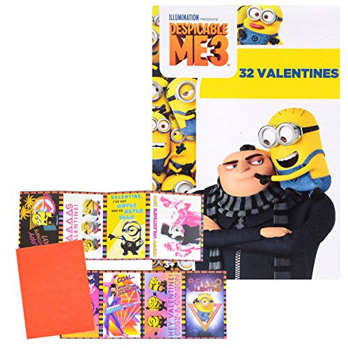 Valentines Day Classroom Exchange Gift | Despicable ME 3 Minions Valentine Cards | 32 Valentines Teachers Card Included | 8 Fun Design Kids DIY DayCare Homeschooling Sunday School]()