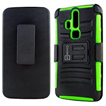 ZTE Axon Pro Case, CoverON® [Explorer Series] Tough Hybrid Armor Belt Clip Phone Cover For ZTE Axon Pro Holster Case - Neon Green & Black