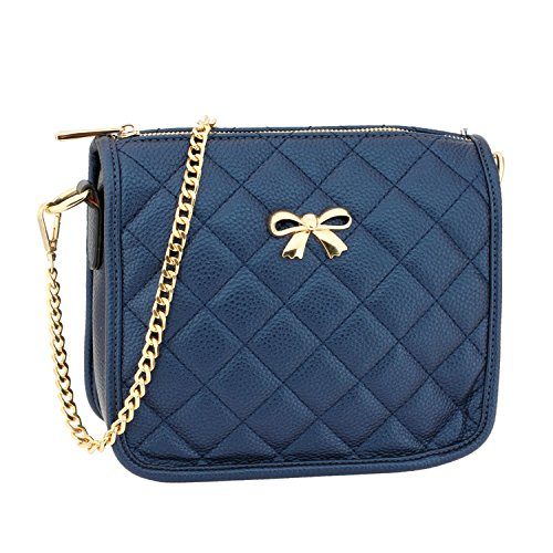 LeahWard Women's Cross Body Bags Quality Shoulder Bag Handbags 056 Navy Quilted