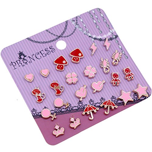 Pack of 12 Pink and Red Color Enamel Magnetic Stud Earrings for Teen Girls Kids Women (Set A) -