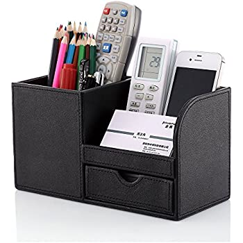 KINGFOM Wooden Struction Leather Multi-function Desk Stationery Organizer Storage Box Pen/Pencil ,Cell Phone, Business Name Cards Remote Control Holder Colors (Black)