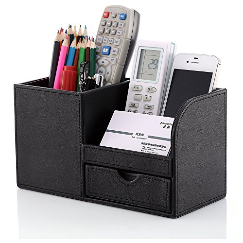 KINGFOM PU Leather Desk Organizer Office Accessories Collection Storage Box, 3 Compartments Pen Pencil Holder with Small Drawer (Black)
