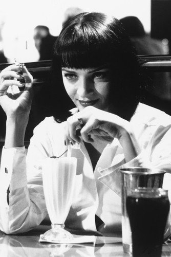 Pulp Fiction Uma Thurman In Diner B&W Poster