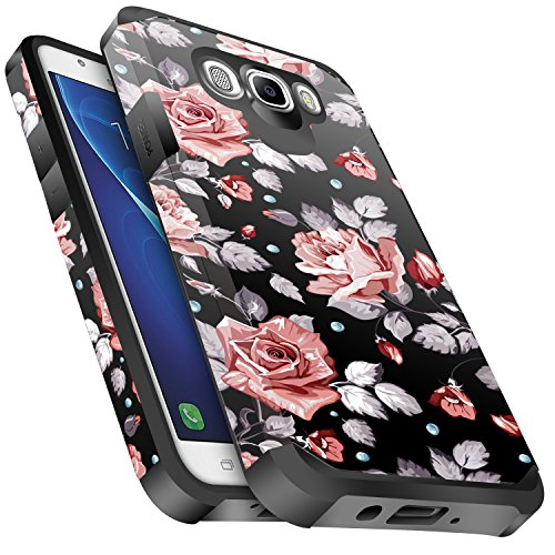 Galaxy J1 Case (2016),Galaxy Luna/Express 3 / Amp 2 Case, Miss Arts Slim Kit with [Drop Protection] Dual Layer Protective Cover Case for Samsung Galaxy J1 2016 -Rose Gold Flower/Black