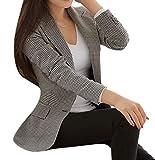 Enlishop Women's Elegant Long Sleeve Work Office Slim Fit Plaid Blazer Jacket Black White