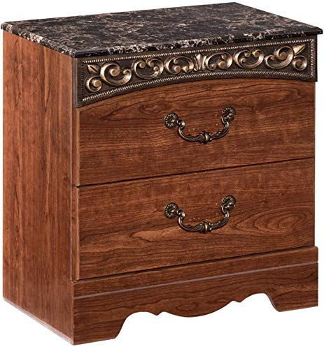 Ashley Furniture Signature Design - Fairbrooks Estate Nightstand - 2 Drawers - Engineered Wood - Traditional - Reddish Brown