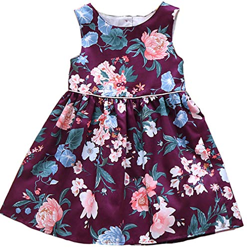 - Jup'Elle Girls Dress Sleeveless 100% Cotton Plum Floral Print Todder Clothes Party Little Girl Casual Dresses Size 8