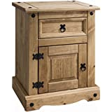 Corona Mexican Pine Bedside Table | Nightstand | 1 Drawers & 1 Door | Rustic Design by House of Cotswolds