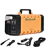 Beleeb 500WH 288WH Portable Generator Power Source Power Supply with 100V/110V/60Hz, Max 500W AC Power Inverters, 12V/5A DC & USB Ports, Charged by DC Input/Solar Panels