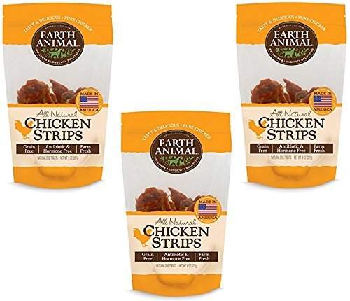 Earth Animal All Natural USA Chicken Strip Treats 8oz (3 Packages)
