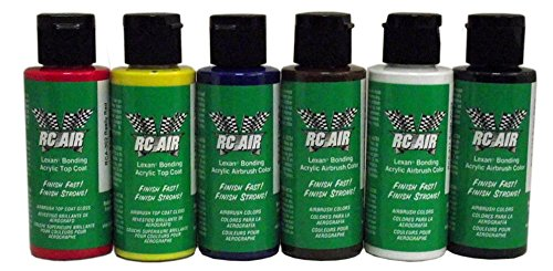 BADGER RCA-350 Rc Air Radio Control Lexan Primary 2 oz Bottles (Set of 6) Airbrush Paint (Lexan Paint)