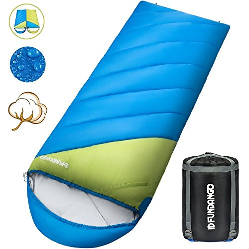 FUNDANGO Sleeping Bag with Compression Sack Envelope Lightweight Portable, Waterproof, Comfort with Compression Sack – Great for 4 Season Traveling, Camping, Hiking, Outdoor Activities