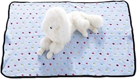 Manta de franela suave para mascotas, perros, gatos, cálida, para cama de sofá, cama con diseño de lunares, color negro, para perros y gatos