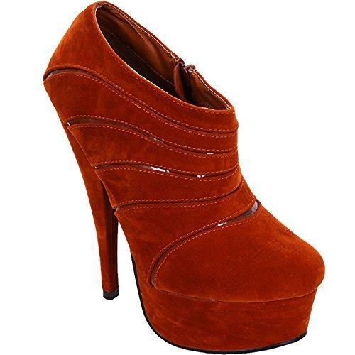 Women's Boots Suede Contrast Rust Patent Platform Sapphire Ankle Ladies High Strip Heel SAWqBAvd